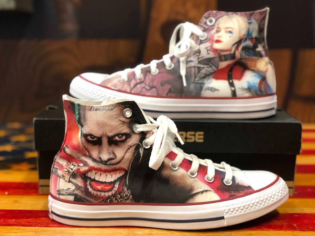Zapatillas personalizadas Converse The Joker y Harley Quinn